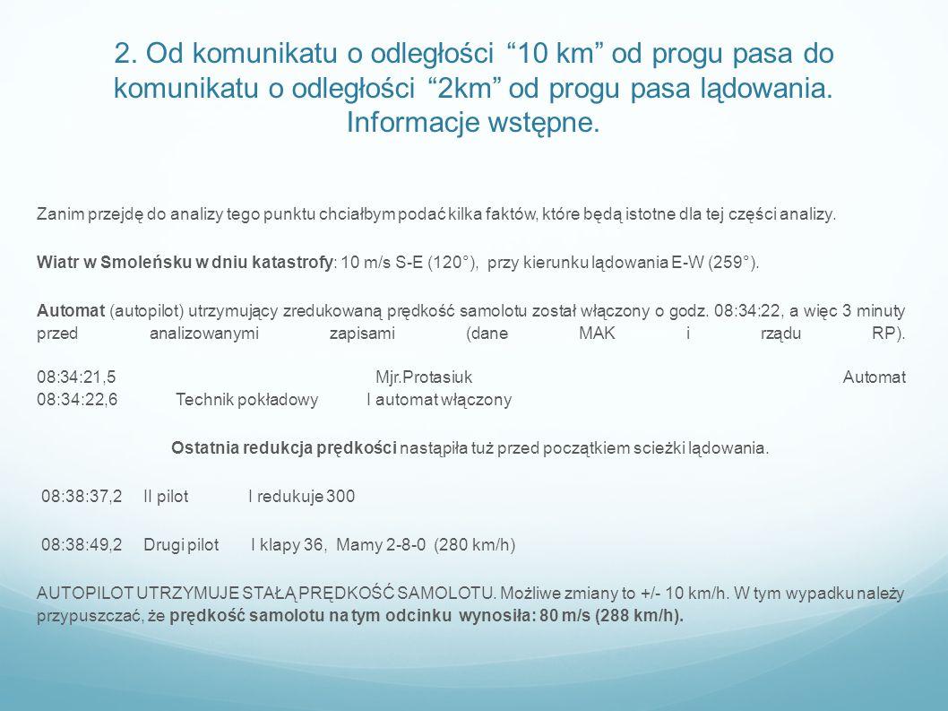 2. Od komunikatu o odległości 10 km od progu pasa do komunikatu o odległości 2km od progu pasa lądowania. Informacje wstępne. Zanim przejdę do analizy