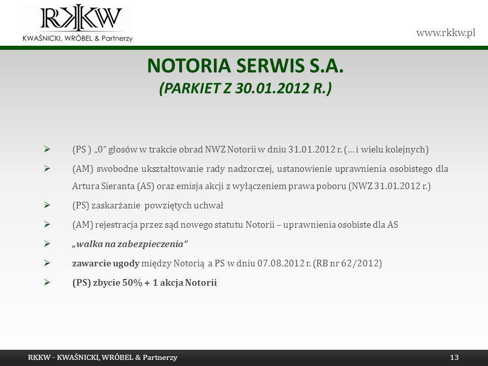 www.rkkw.pl NOTORIA SERWIS S.A. (PARKIET Z 30.01.2012 R.) (PS ) 0 głosów w trakcie obrad NWZ Notorii w dniu 31.01.2012 r. (… i wielu kolejnych) (AM) s