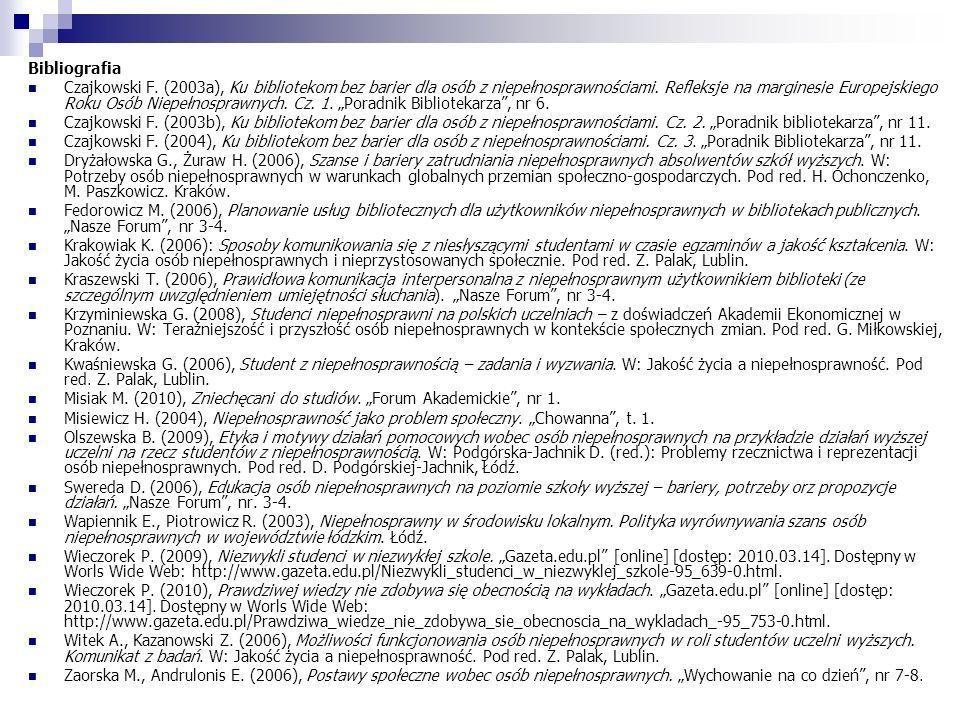 Bibliografia Czajkowski F. (2003a), Ku bibliotekom bez barier dla osób z niepełnosprawnościami. Refleksje na marginesie Europejskiego Roku Osób Niepeł