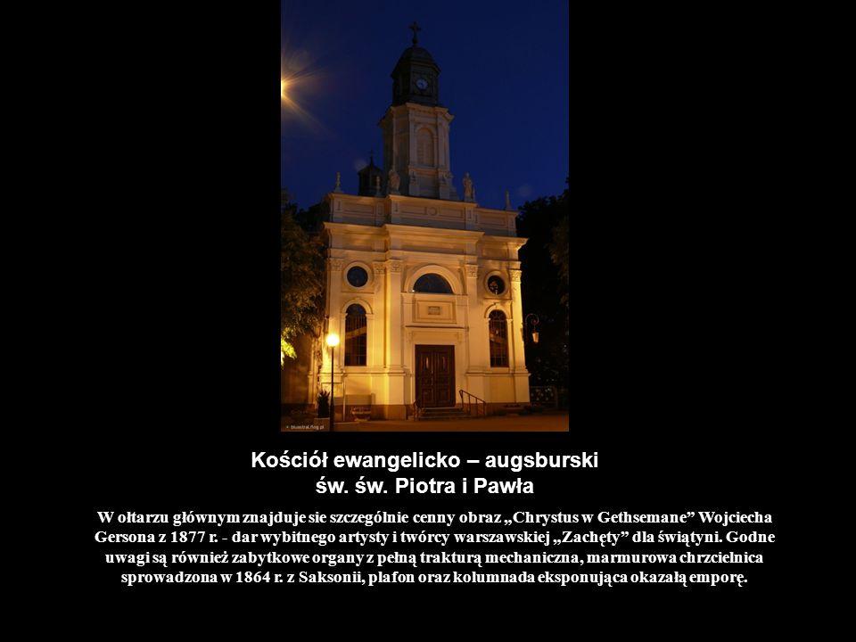Kościół ewangelicko – augsburski św. św. Piotra i Pawła W ołtarzu głównym znajduje sie szczególnie cenny obraz Chrystus w Gethsemane Wojciecha Gersona