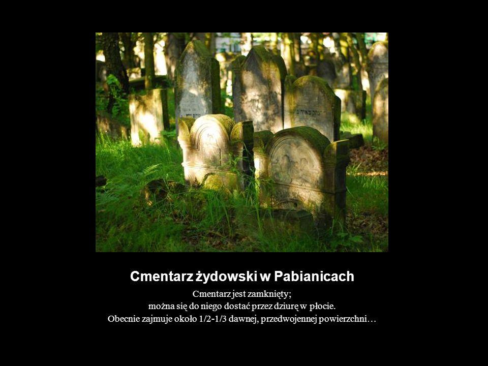 Cmentarz żydowski w Pabianicach Cmentarz jest zamknięty; można się do niego dostać przez dziurę w płocie. Obecnie zajmuje około 1/2-1/3 dawnej, przedw