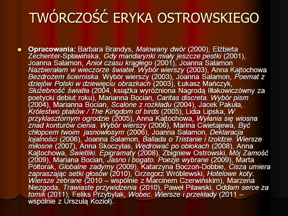 TWÓRCZOŚĆ ERYKA OSTROWSKIEGO Opracowania: Barbara Brandys, Malowany dwór (2000), Elżbieta Zechenter-Spławińska, Gdy mandarynki miały jeszcze pestki (2