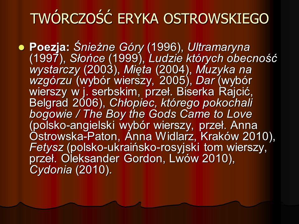 TWÓRCZOŚĆ ERYKA OSTROWSKIEGO Poezja: Śnieżne Góry (1996), Ultramaryna (1997), Słońce (1999), Ludzie których obecność wystarczy (2003), Mięta (2004), M