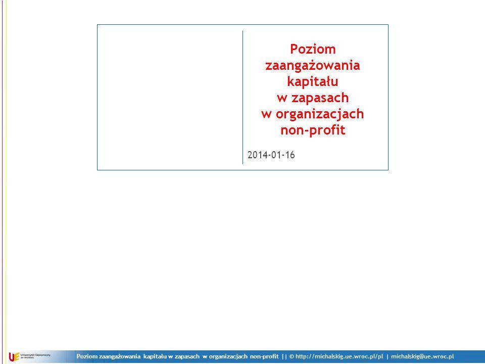 Poziom zaangażowania kapitału w zapasach w organizacjach non-profit || © http://michalskig.ue.wroc.pl/pl | michalskig@ue.wroc.pl 2014-01-16 Poziom zaangażowania kapitału w zapasach w organizacjach non-profit