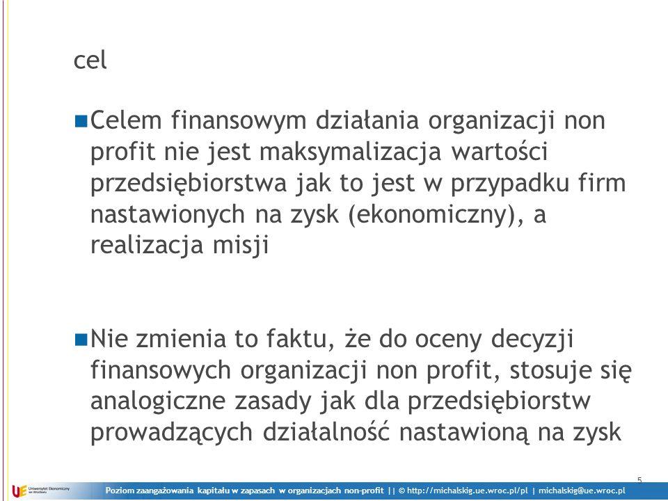 Poziom zaangażowania kapitału w zapasach w organizacjach non-profit || © http://michalskig.ue.wroc.pl/pl | michalskig@ue.wroc.pl cel Celem finansowym działania organizacji non profit nie jest maksymalizacja wartości przedsiębiorstwa jak to jest w przypadku firm nastawionych na zysk (ekonomiczny), a realizacja misji Nie zmienia to faktu, że do oceny decyzji finansowych organizacji non profit, stosuje się analogiczne zasady jak dla przedsiębiorstw prowadzących działalność nastawioną na zysk 5