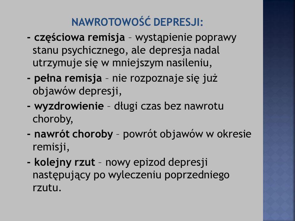 NAWROTOWOŚĆ DEPRESJI: - częściowa remisja – wystąpienie poprawy stanu psychicznego, ale depresja nadal utrzymuje się w mniejszym nasileniu, - pełna re
