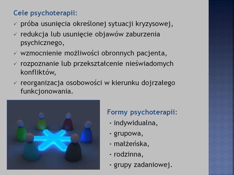 Cele psychoterapii: próba usunięcia określonej sytuacji kryzysowej, redukcja lub usunięcie objawów zaburzenia psychicznego, wzmocnienie możliwości obr