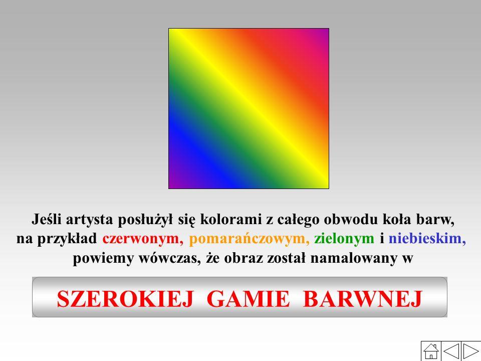to zbliżone odcienie jednej lub kilku barw, zestawionych według określonej zasady, np.: gama zimna, gama ciepła, gama żółci, złamanych zieleni itp. Ga