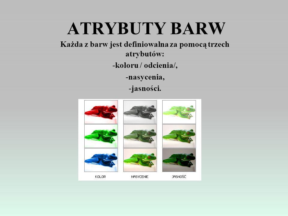 BARWY CHROMATYCZNE I ACHROMATYCZNE Barwy chromatyczne są to wszystkie kolory w których można wyróżnić dominantę. Są to wszystkie kolory oprócz bieli,
