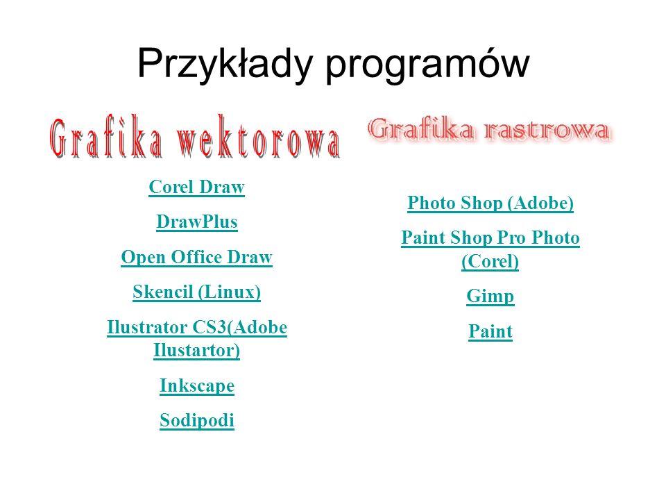 Przykłady programów Corel Draw DrawPlus Open Office Draw Skencil (Linux) Ilustrator CS3(Adobe Ilustartor) Inkscape Sodipodi Photo Shop (Adobe) Paint S