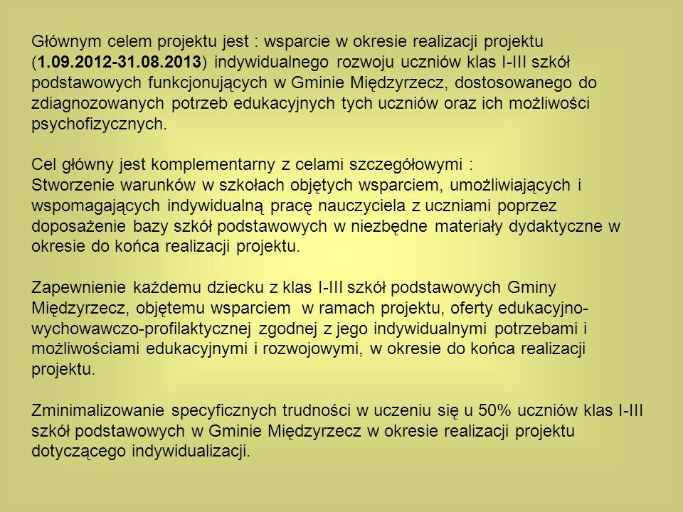 Głównym celem projektu jest : wsparcie w okresie realizacji projektu (1.09.2012-31.08.2013) indywidualnego rozwoju uczniów klas I-III szkół podstawowy