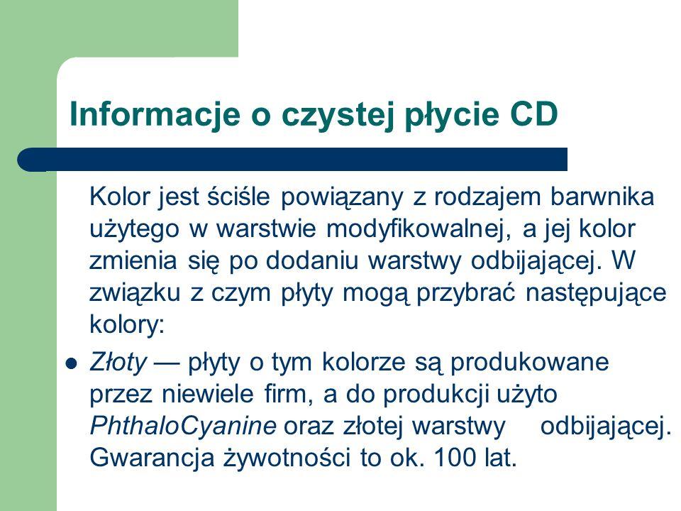 Informacje o czystej płycie CD Kolor jest ściśle powiązany z rodzajem barwnika użytego w warstwie modyfikowalnej, a jej kolor zmienia się po dodaniu w