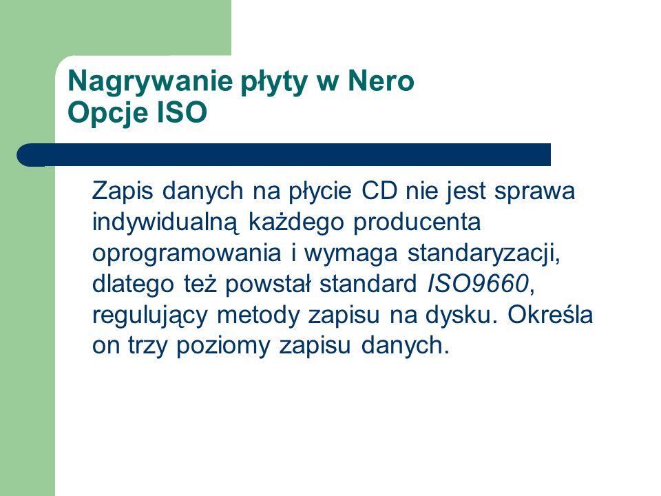 Zapis danych na płycie CD nie jest sprawa indywidualną każdego producenta oprogramowania i wymaga standaryzacji, dlatego też powstał standard ISO9660,