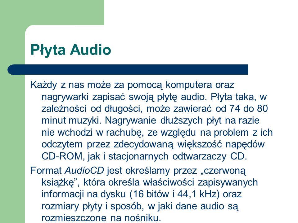 Płyta Audio Każdy z nas może za pomocą komputera oraz nagrywarki zapisać swoją płytę audio. Płyta taka, w zależności od długości, może zawierać od 74
