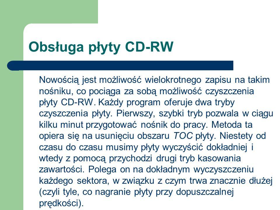 Obsługa płyty CD-RW Nowością jest możliwość wielokrotnego zapisu na takim nośniku, co pociąga za sobą możliwość czyszczenia płyty CD-RW. Każdy program