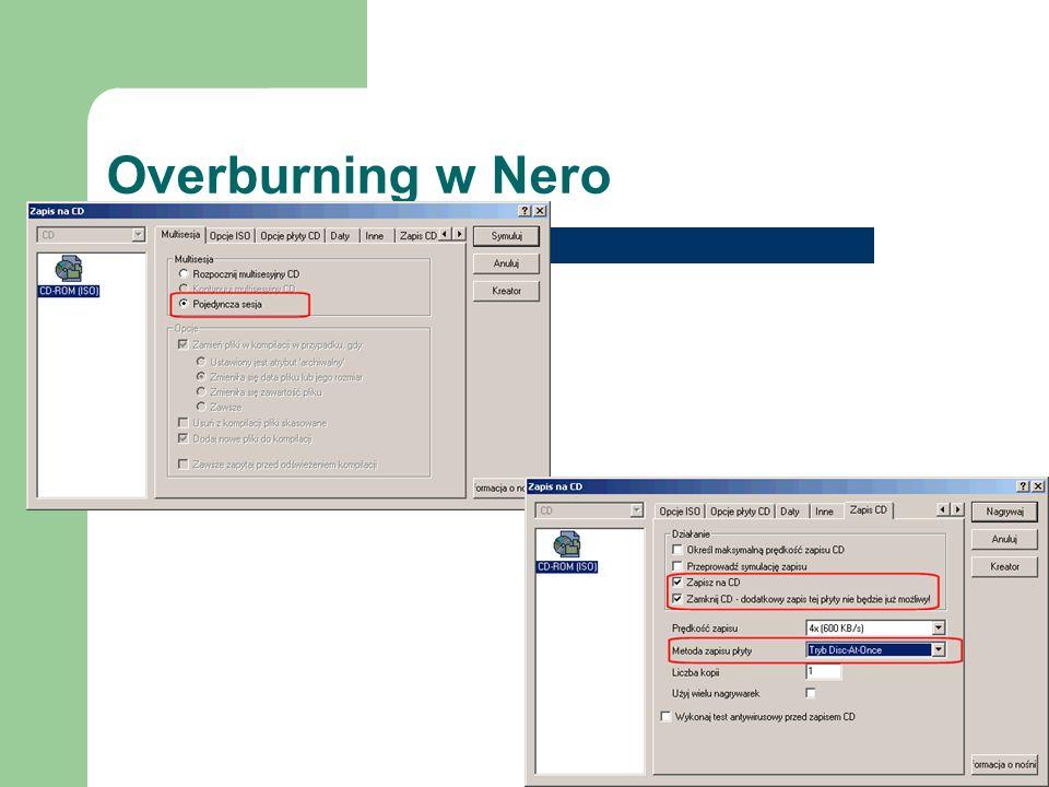 Overburning w Nero