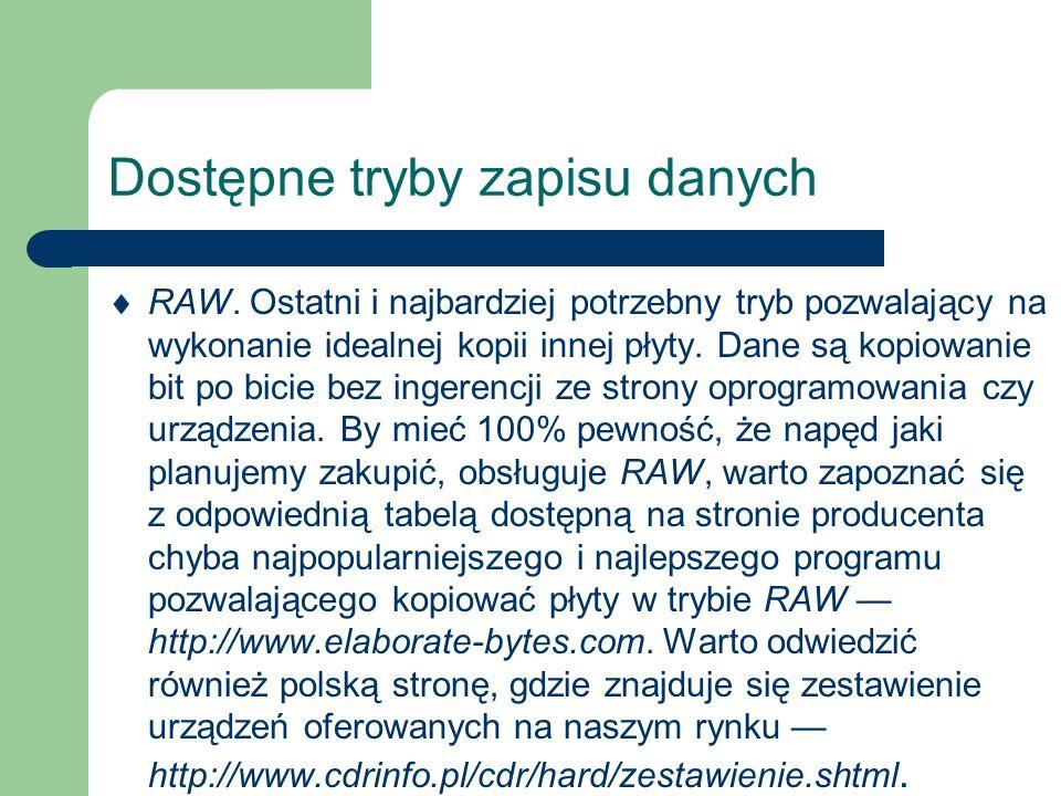 Dostępne tryby zapisu danych Tryb RAW dzieli się na dwa podtypy: 1.