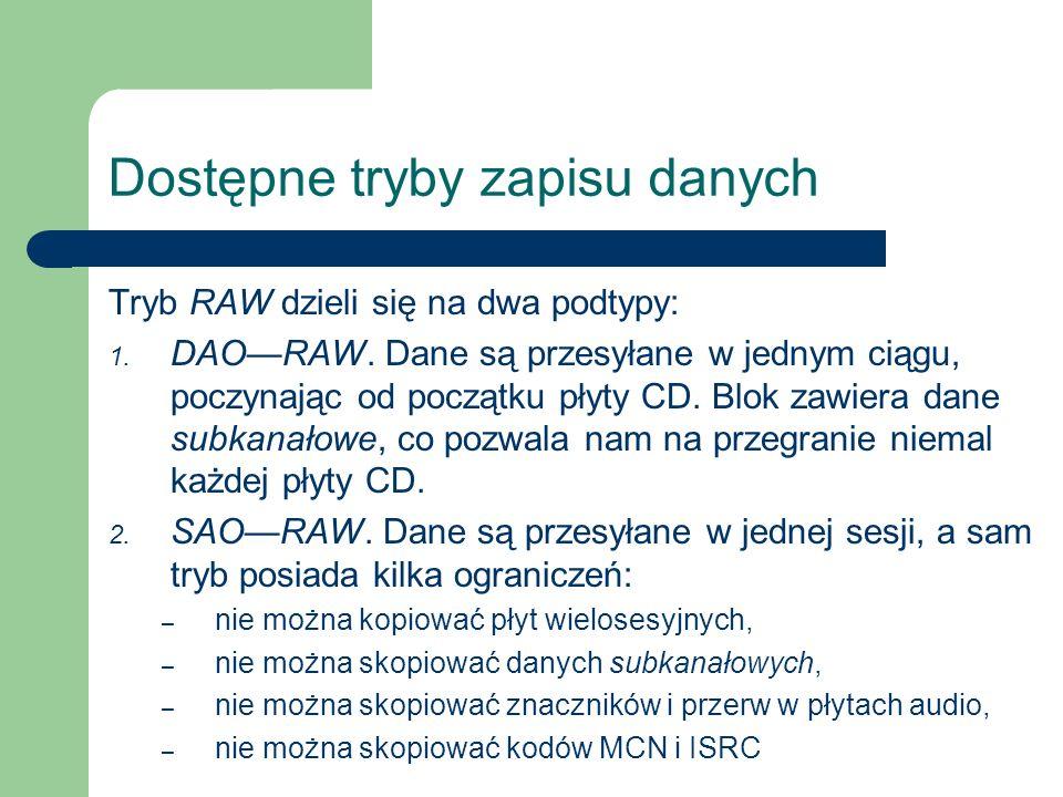Dostępne tryby zapisu danych Tryb RAW dzieli się na dwa podtypy: 1. DAORAW. Dane są przesyłane w jednym ciągu, poczynając od początku płyty CD. Blok z
