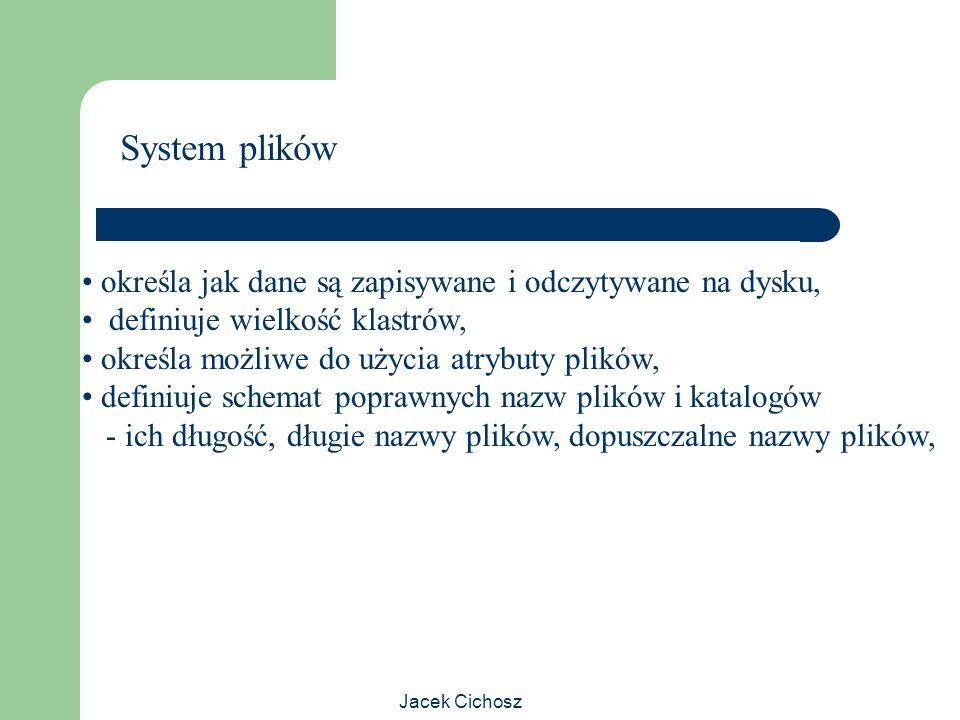 Jacek Cichosz System plików określa jak dane są zapisywane i odczytywane na dysku, definiuje wielkość klastrów, określa możliwe do użycia atrybuty pli