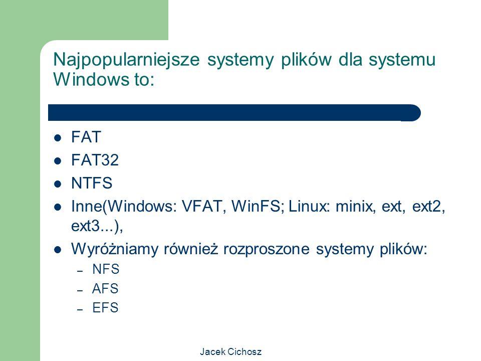 Jacek Cichosz Najpopularniejsze systemy plików dla systemu Windows to: FAT FAT32 NTFS Inne(Windows: VFAT, WinFS; Linux: minix, ext, ext2, ext3...), Wy