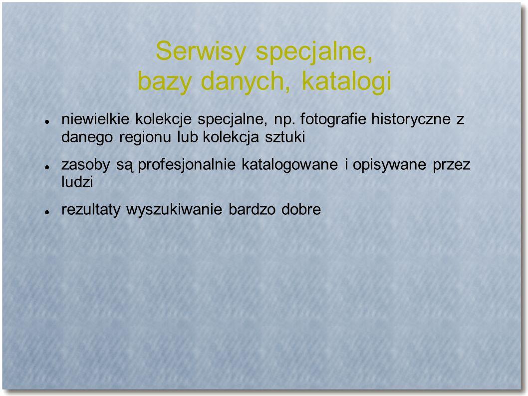 Serwisy specjalne, bazy danych, katalogi niewielkie kolekcje specjalne, np.
