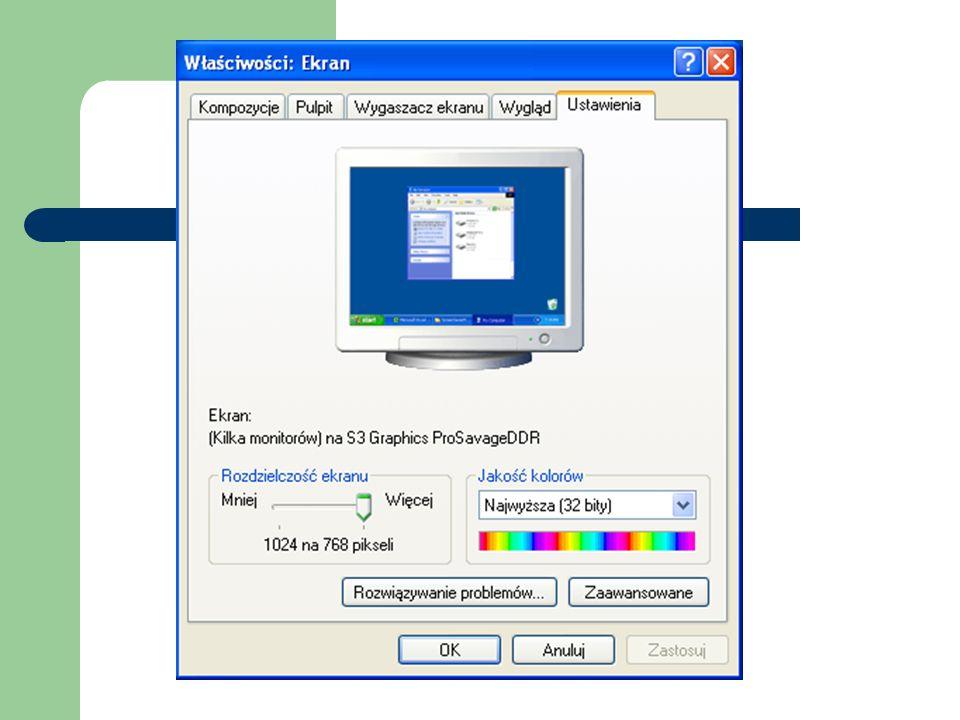Kompozycje pulpitu Niektóre systemy operacyjne mają zainstalowane gotowe kompozycje związane z wyglądem pulpitu, a także wraz ze wszystkimi pozostałymi jego elementami np.