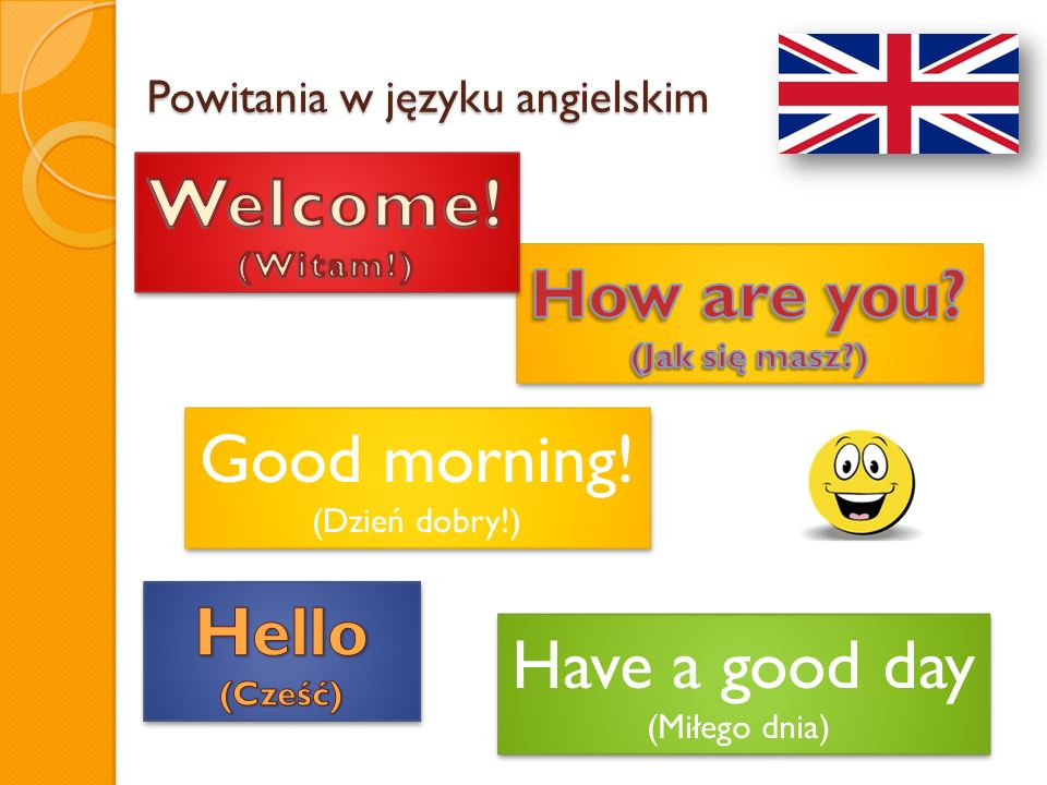 Powitania w języku angielskim Have a good day (Miłego dnia) Have a good day (Miłego dnia) Good morning! (Dzień dobry!) Good morning! (Dzień dobry!)