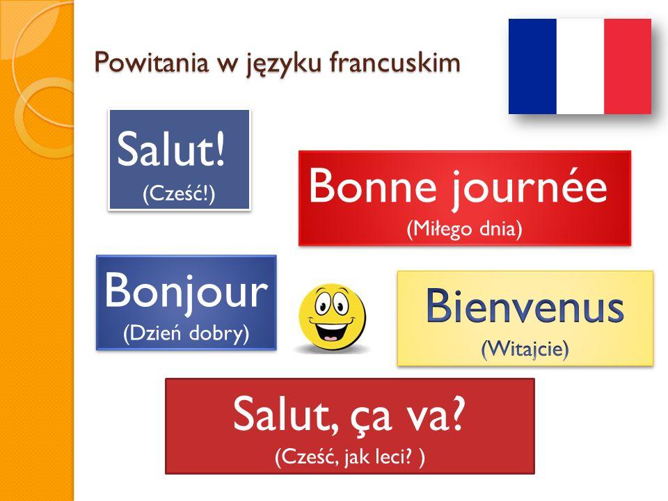 Powitania w języku francuskim Salut! (Cześć!) Salut! (Cześć!) Bonne journée (Miłego dnia) Bonne journée (Miłego dnia) Bonjour (Dzień dobry) Bonjour (D