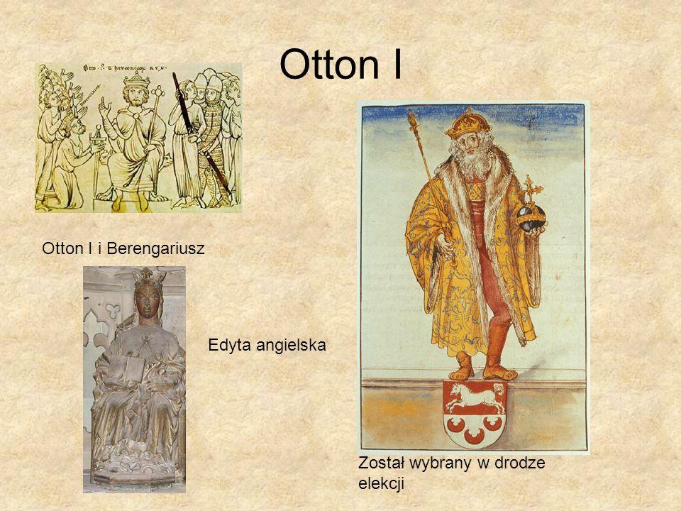 Dokonania Ottona I Ekspansja wobec Słowian Tworzenie licznych marchii Uporządkowanie sytuacji w Italii, usunięcie Berengariusza i Jana XII 962- koronacja cesarska Uporządkowanie stosunków z Bizancjum Cezaropapizm