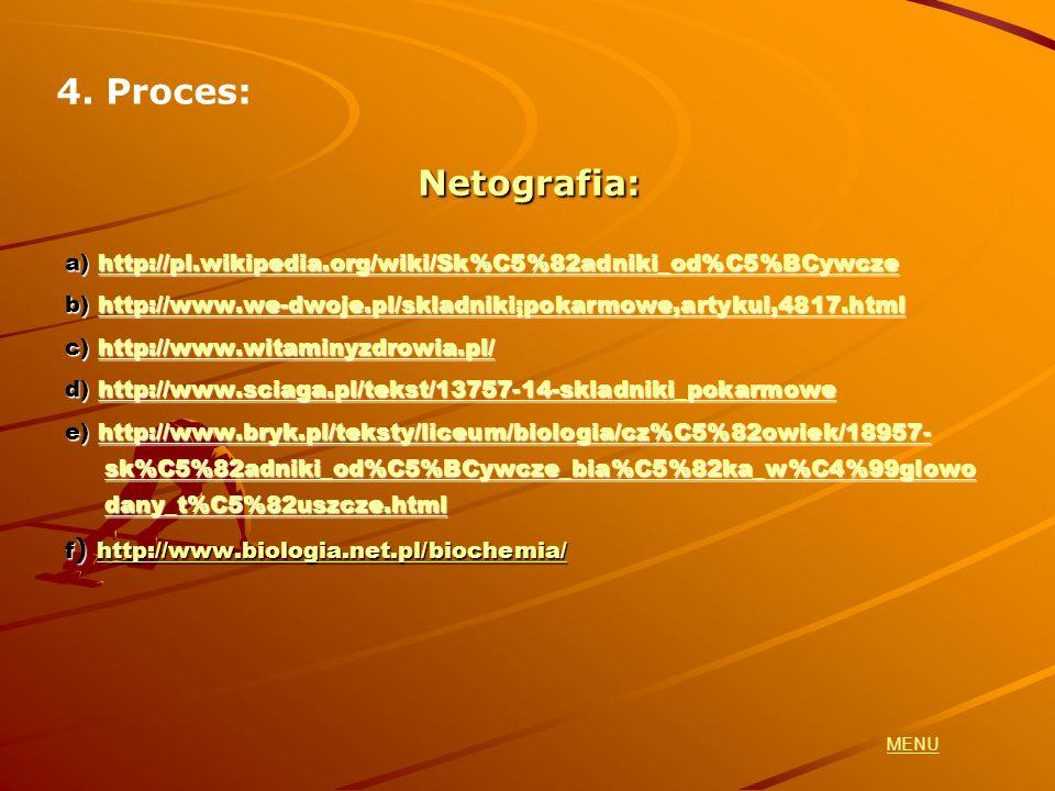 Netografia: a) http://pl.wikipedia.org/wiki/Sk%C5%82adniki_od%C5%BCywcze http://pl.wikipedia.org/wiki/Sk%C5%82adniki_od%C5%BCywcze b) http://www.we-dw