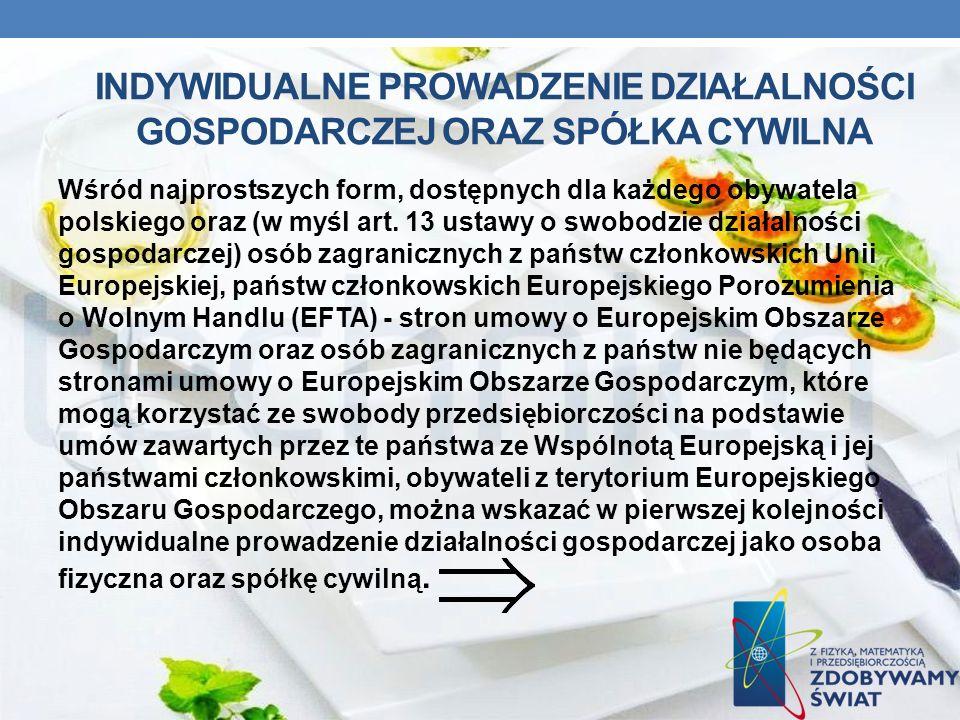 INDYWIDUALNE PROWADZENIE DZIAŁALNOŚCI GOSPODARCZEJ ORAZ SPÓŁKA CYWILNA Wśród najprostszych form, dostępnych dla każdego obywatela polskiego oraz (w my
