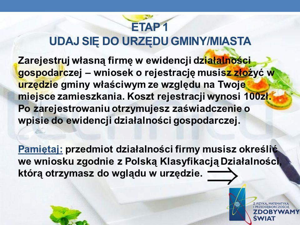 ETAP 1 UDAJ SIĘ DO URZĘDU GMINY/MIASTA Zarejestruj własną firmę w ewidencji działalności gospodarczej – wniosek o rejestrację musisz złożyć w urzędzie