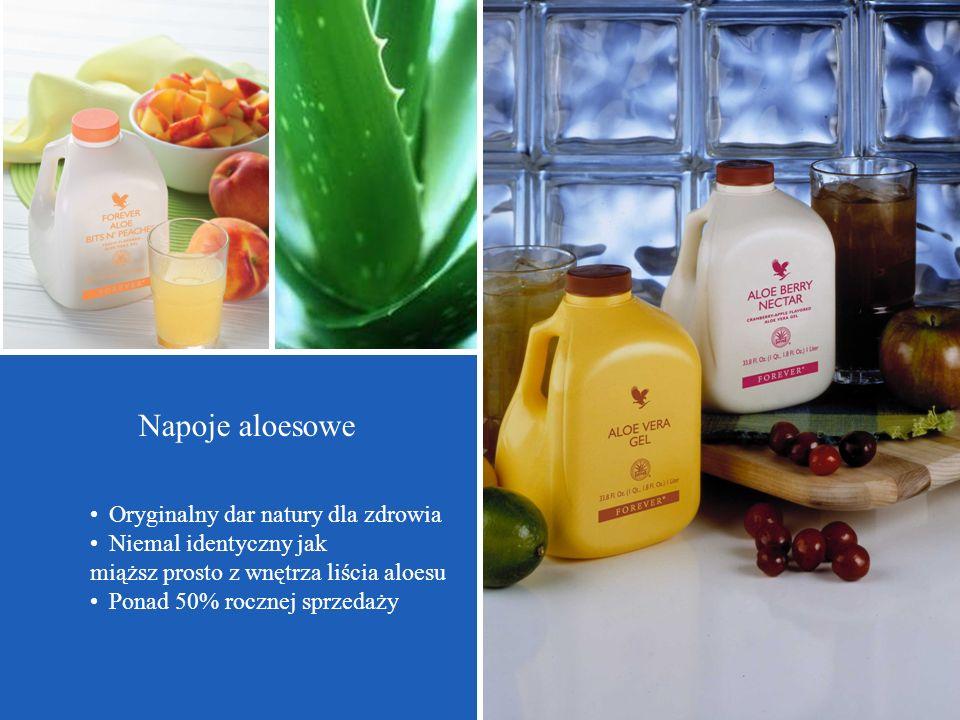 Oryginalny dar natury dla zdrowia Niemal identyczny jak miąższ prosto z wnętrza liścia aloesu Ponad 50% rocznej sprzedaży Napoje aloesowe