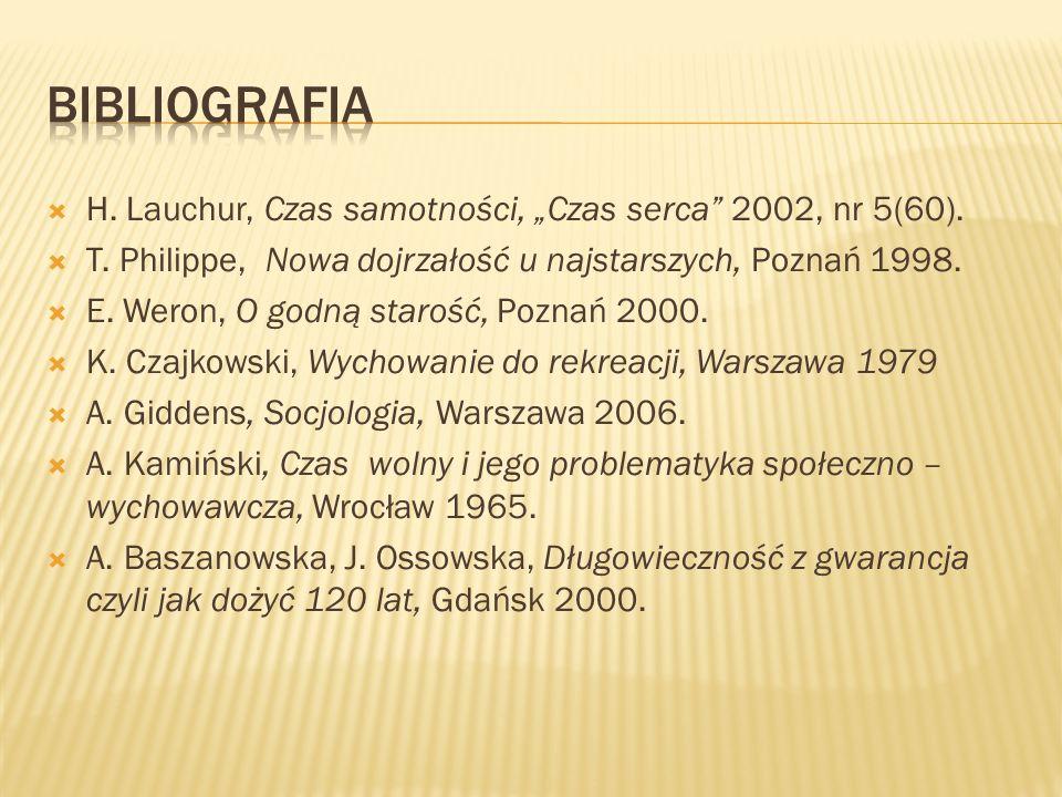 H. Lauchur, Czas samotności, Czas serca 2002, nr 5(60). T. Philippe, Nowa dojrzałość u najstarszych, Poznań 1998. E. Weron, O godną starość, Poznań 20