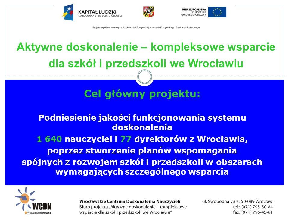 Cel główny projektu: Podniesienie jakości funkcjonowania systemu doskonalenia 1 640 nauczyciel i 77 dyrektorów z Wrocławia, poprzez stworzenie planów