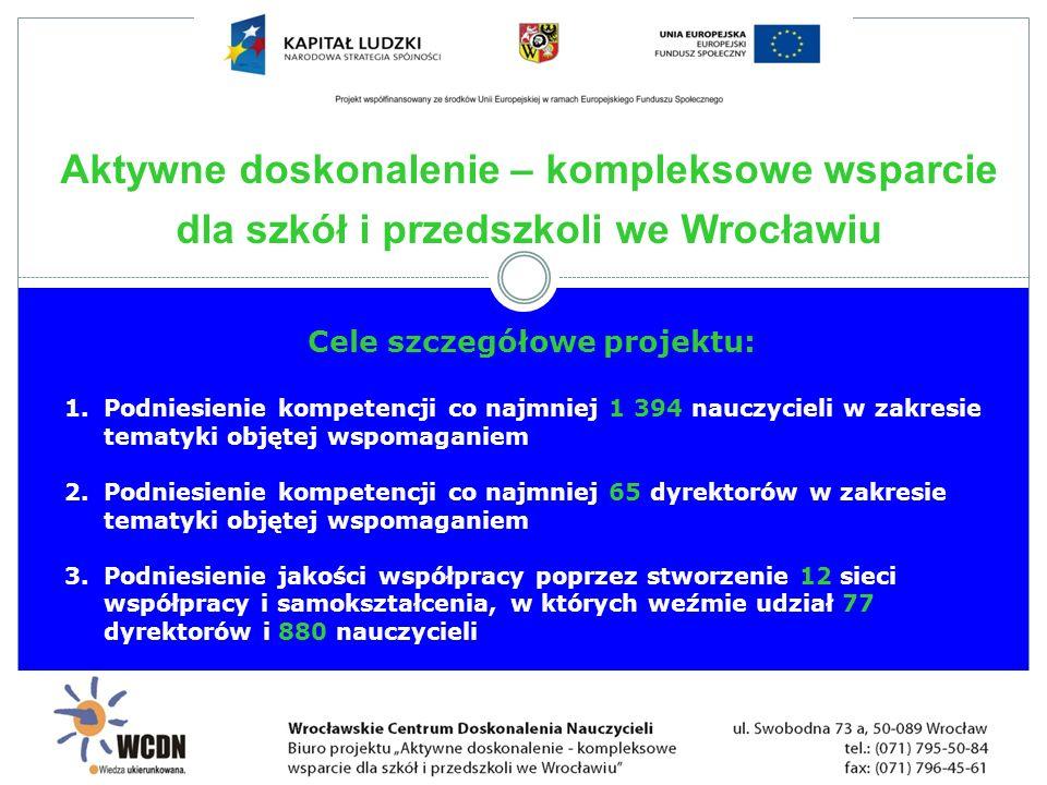 Cele szczegółowe projektu: 1.Podniesienie kompetencji co najmniej 1 394 nauczycieli w zakresie tematyki objętej wspomaganiem 2.Podniesienie kompetencj