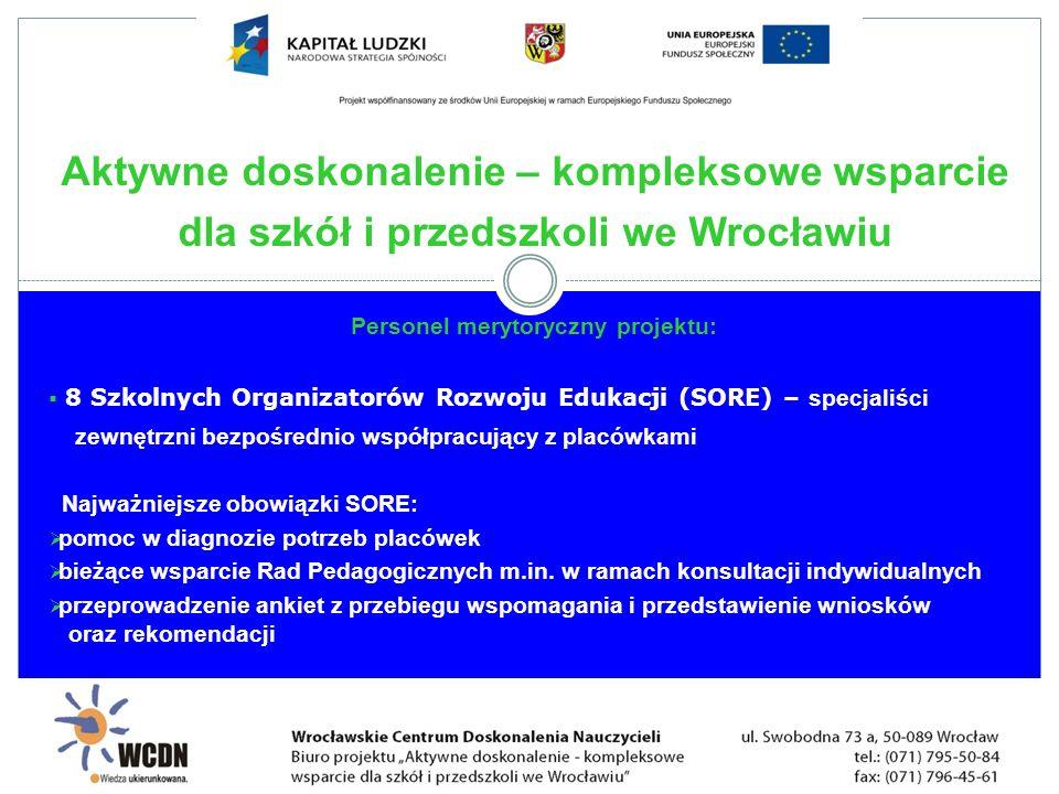 Personel merytoryczny projektu: minimum 18 ekspertów zewnętrznych – specjaliści z konkretnej dziedziny zatrudnieni do przeprowadzenia warsztatów grupowych i konsultacji indywidualnych 12 koordynatorów sieci tematycznych do prowadzenia 48 grup – specjaliści z konkretnej dziedziny, którzy będą koordynować pracą sieci oraz pracą na platformie internetowej ORE Aktywne doskonalenie – kompleksowe wsparcie dla szkół i przedszkoli we Wrocławiu