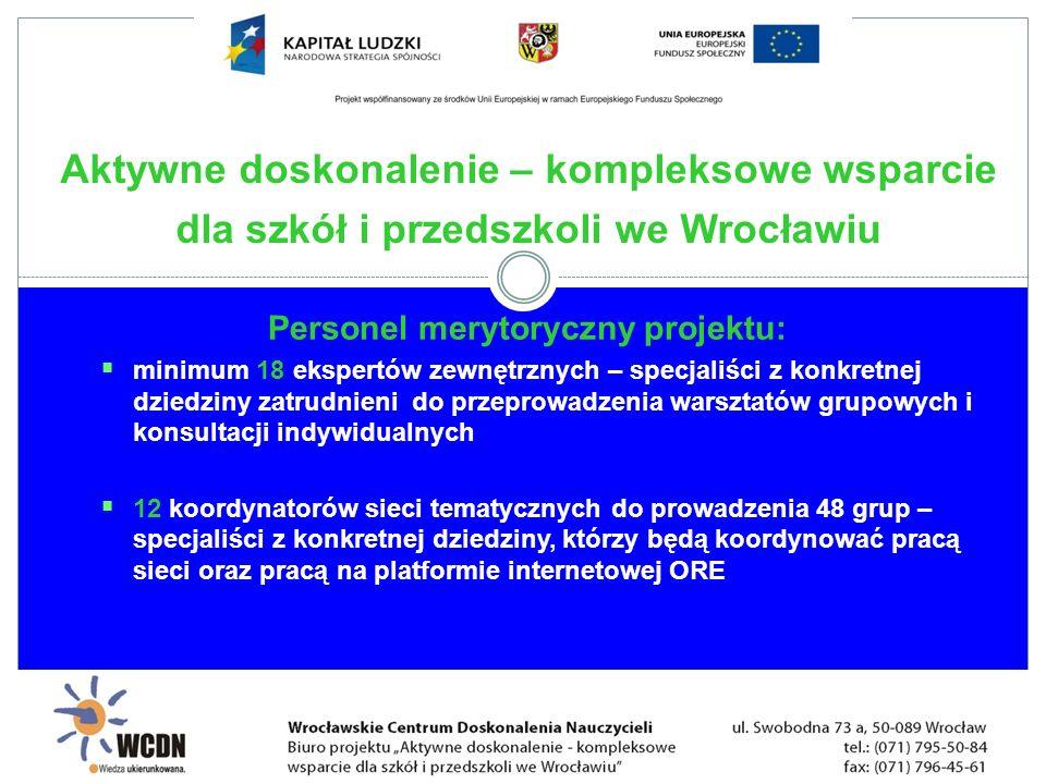 Personel merytoryczny projektu: minimum 18 ekspertów zewnętrznych – specjaliści z konkretnej dziedziny zatrudnieni do przeprowadzenia warsztatów grupo