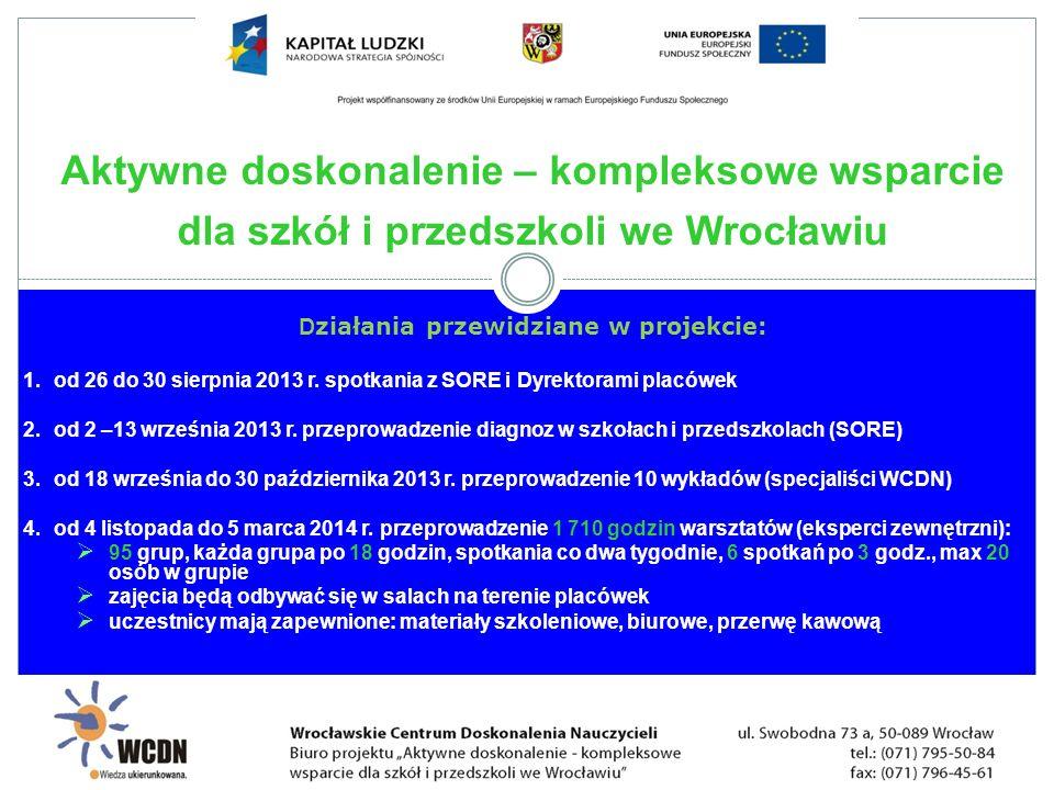 D ziałania przewidziane w projekcie: 1. od 26 do 30 sierpnia 2013 r. spotkania z SORE i Dyrektorami placówek 2. od 2 –13 września 2013 r. przeprowadze