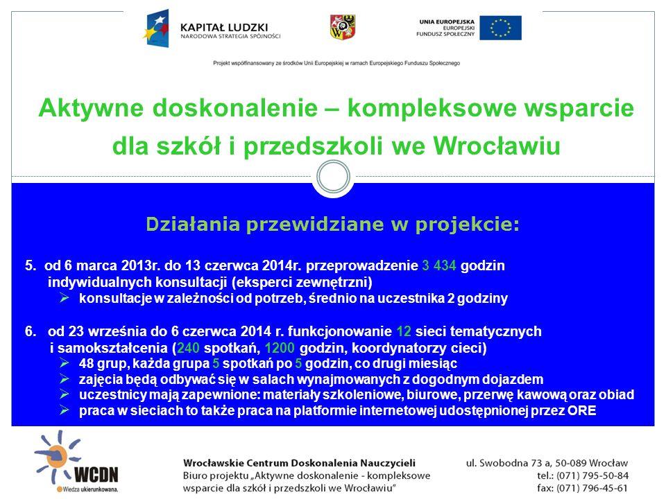 D ziałania przewidziane w projekcie: 5. od 6 marca 2013r. do 13 czerwca 2014r. przeprowadzenie 3 434 godzin indywidualnych konsultacji (eksperci zewnę
