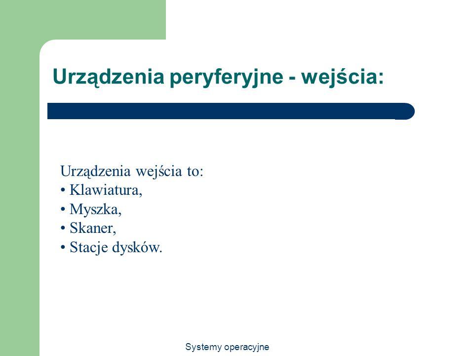 Systemy operacyjne Urządzenia peryferyjne - wejścia: Urządzenia wejścia to: Klawiatura, Myszka, Skaner, Stacje dysków.