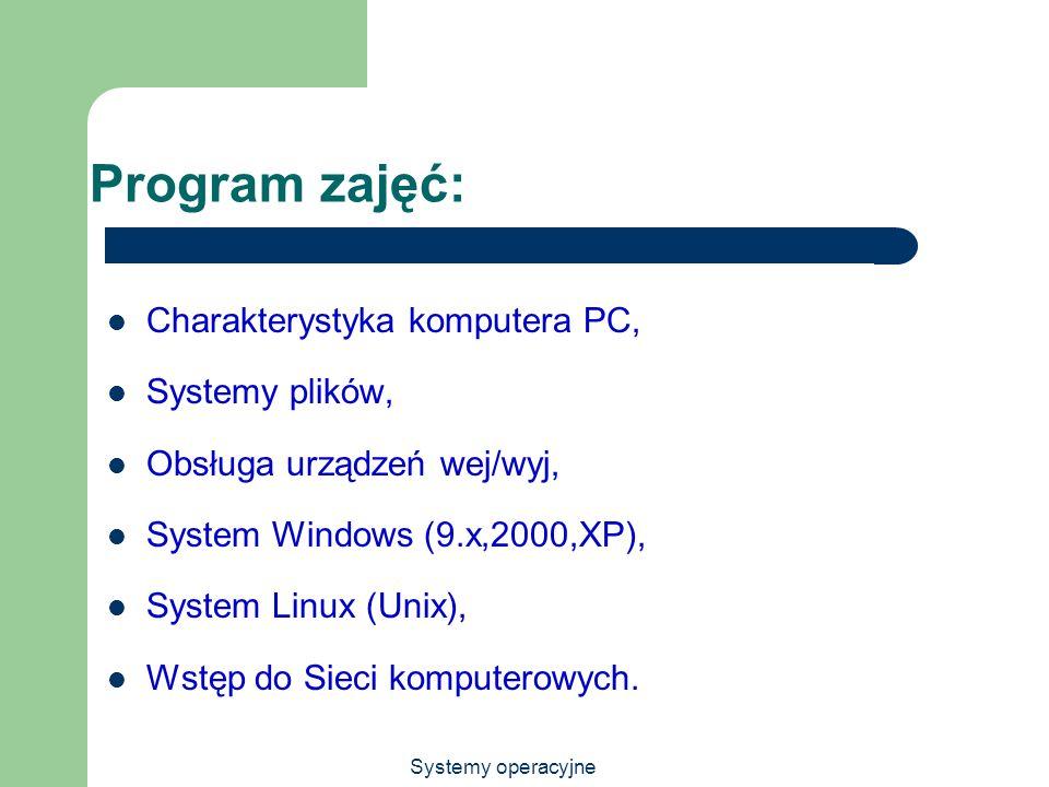Systemy operacyjne Program zajęć: Charakterystyka komputera PC, Systemy plików, Obsługa urządzeń wej/wyj, System Windows (9.x,2000,XP), System Linux (
