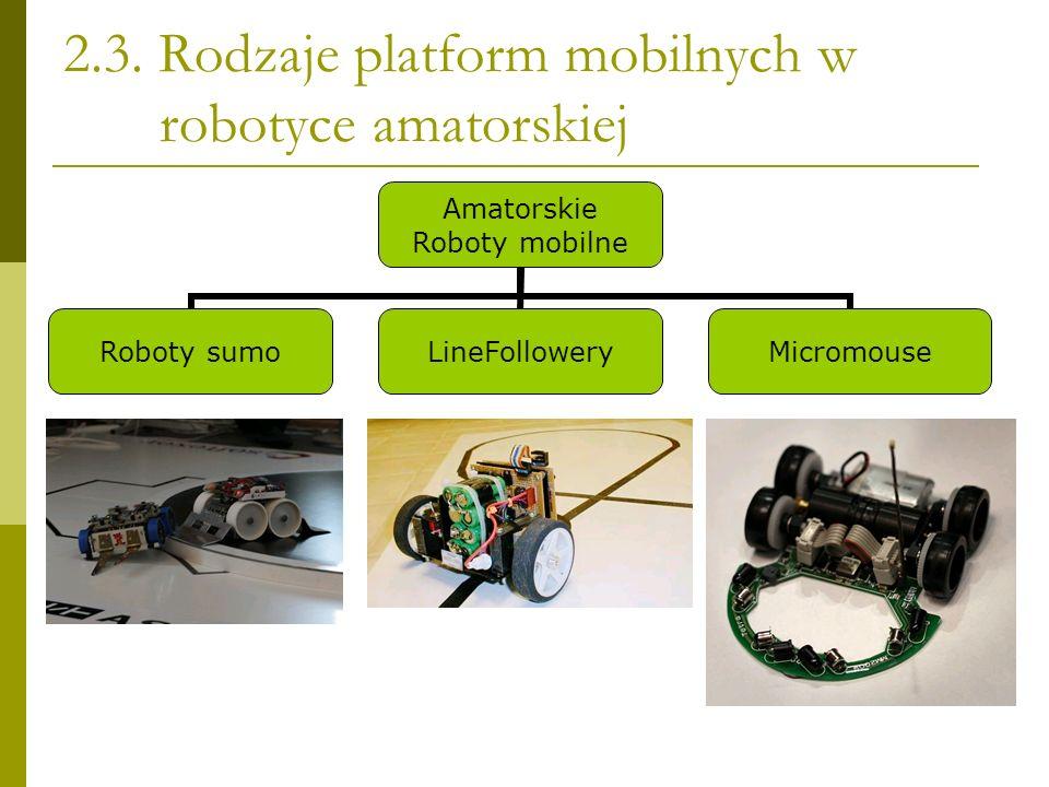 2.3. Rodzaje platform mobilnych w robotyce amatorskiej Amatorskie Roboty mobilne Roboty sumoLineFolloweryMicromouse