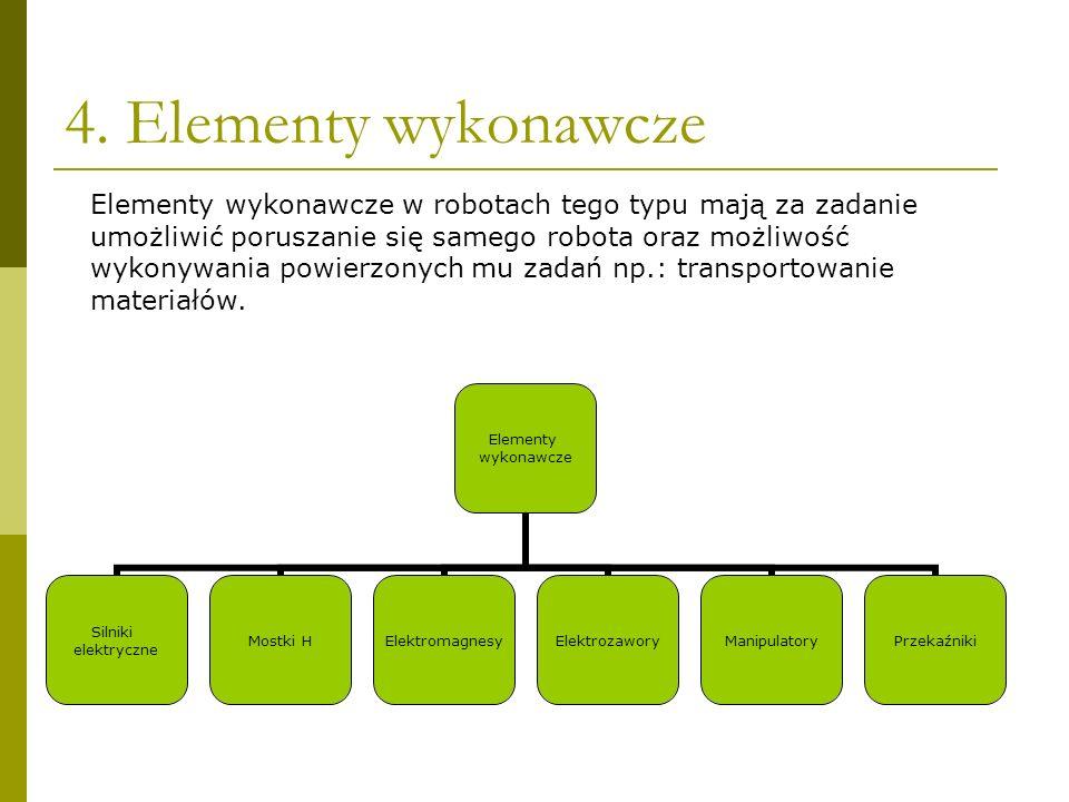 4. Elementy wykonawcze Elementy wykonawcze Silniki elektryczne Mostki HElektromagnesyElektrozaworyManipulatoryPrzekaźniki Elementy wykonawcze w robota