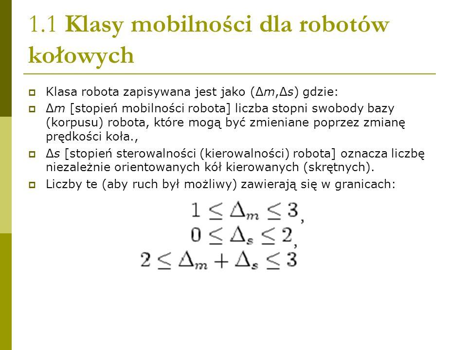 1.1 Klasy mobilności dla robotów kołowych Klasa robota zapisywana jest jako (Δm,Δs) gdzie: Δm [stopień mobilności robota] liczba stopni swobody bazy (