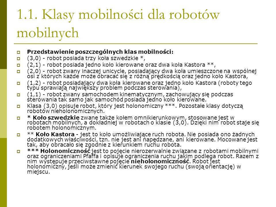 1.1. Klasy mobilności dla robotów mobilnych Przedstawienie poszczególnych klas mobilności: (3,0) - robot posiada trzy koła szwedzkie *, (2,1) - robot
