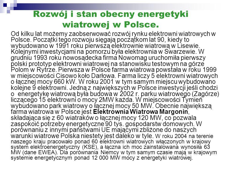 Rozwój i stan obecny energetyki wiatrowej w Polsce. Od kilku lat możemy zaobserwować rozwój rynku elektrowni wiatrowych w Polsce. Początki tego rozwoj