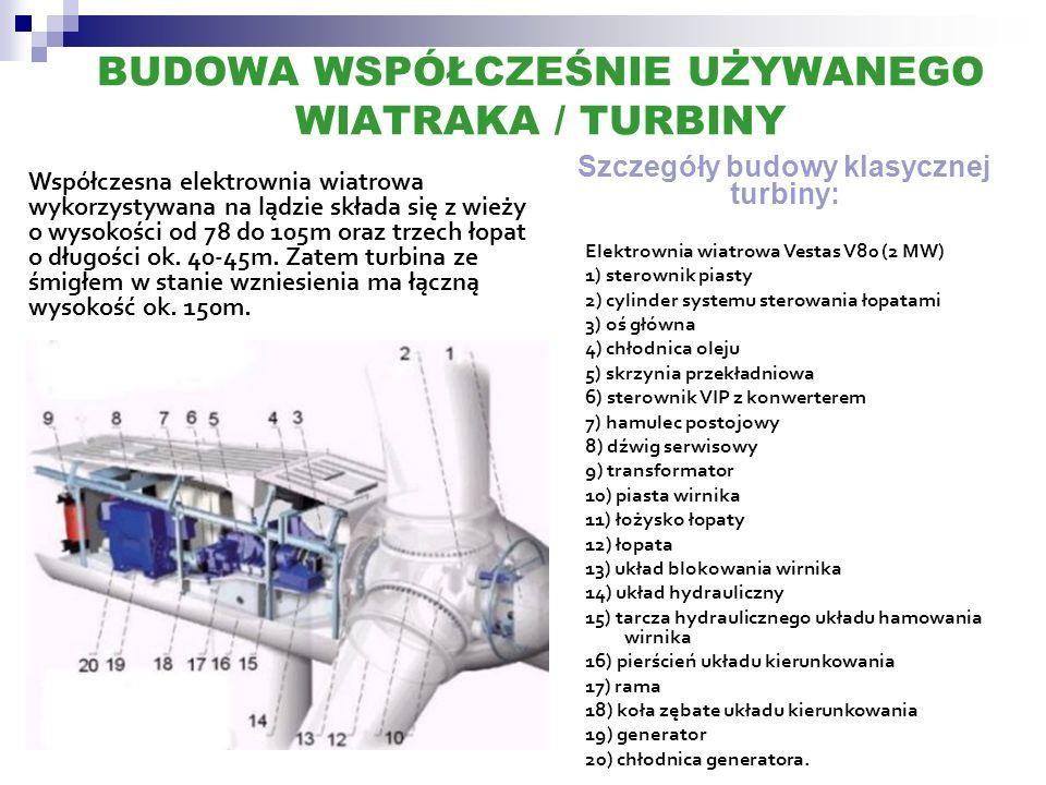 BUDOWA WSPÓŁCZEŚNIE UŻYWANEGO WIATRAKA / TURBINY Współczesna elektrownia wiatrowa wykorzystywana na lądzie składa się z wieży o wysokości od 78 do 105