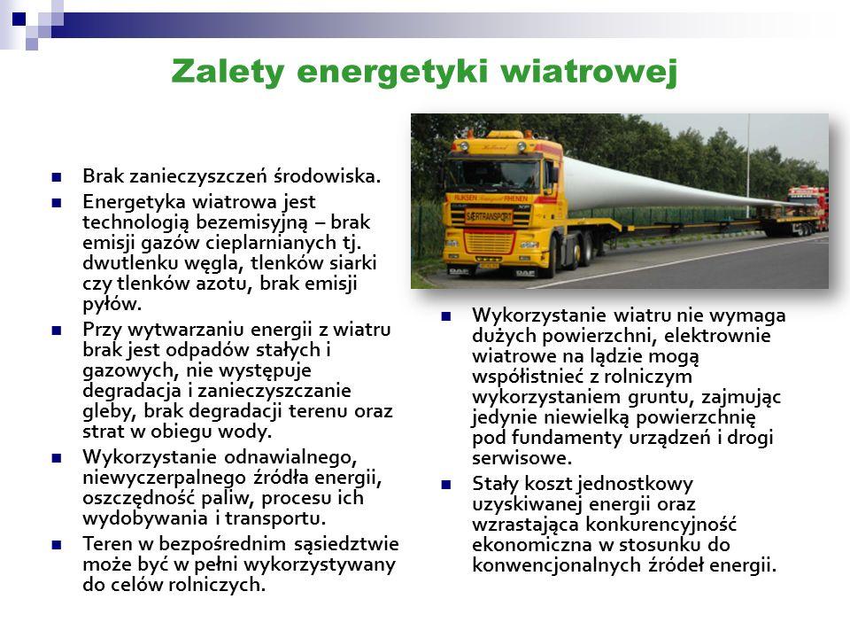 Zalety energetyki wiatrowej Brak zanieczyszczeń środowiska. Energetyka wiatrowa jest technologią bezemisyjną – brak emisji gazów cieplarnianych tj. dw