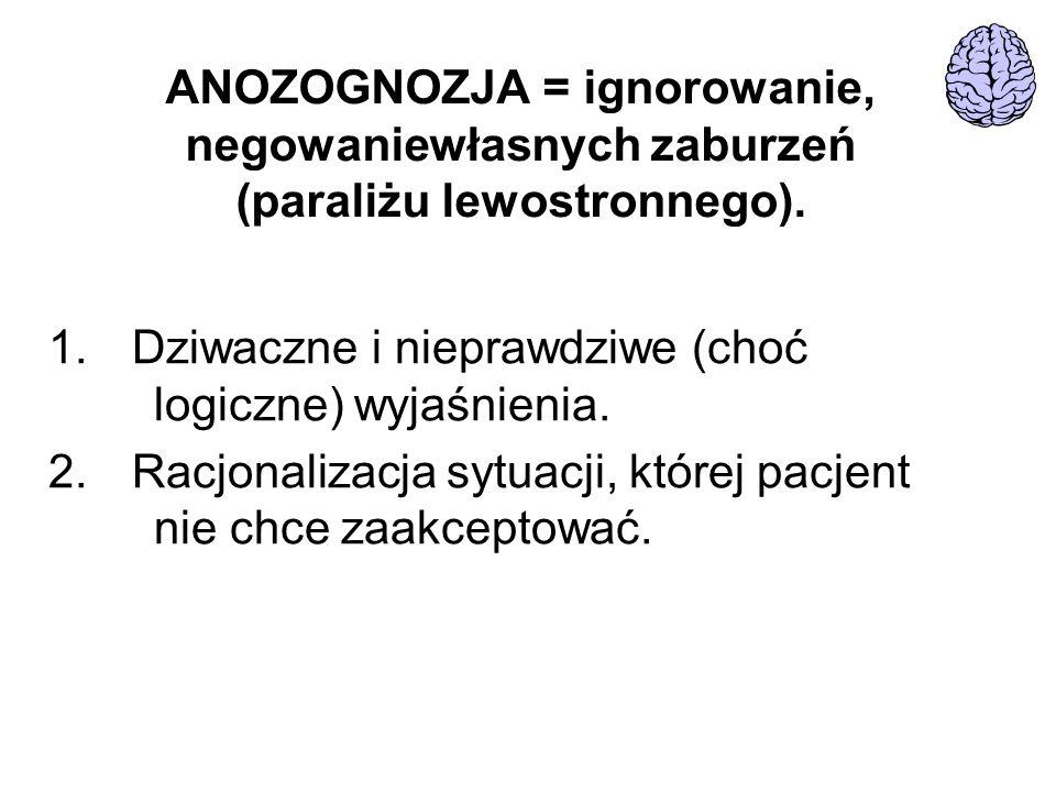 ANOZOGNOZJA = ignorowanie, negowaniewłasnych zaburzeń (paraliżu lewostronnego). 1. Dziwaczne i nieprawdziwe (choć logiczne) wyjaśnienia. 2. Racjonaliz